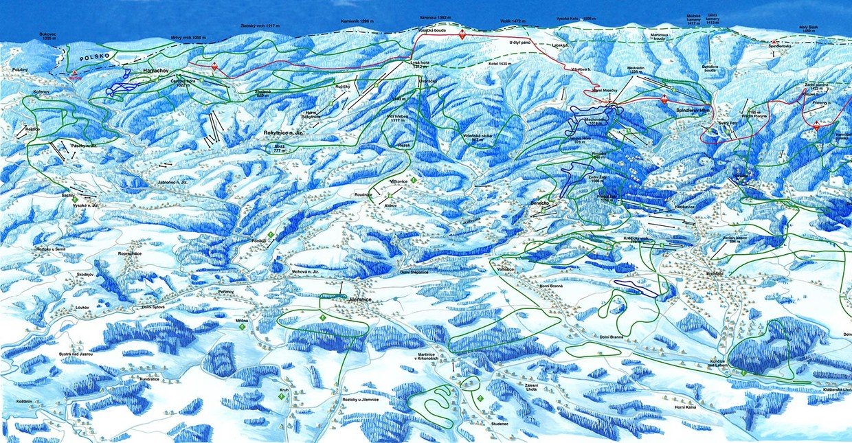 Map of cross-country skiing trails